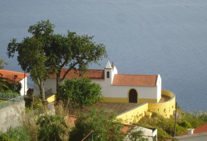 Capela das Neves, classified monument built in the 16th century, viewed from the Neves Overlook